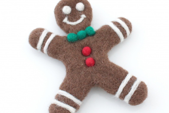 Festive Holiday Needle Felted Gingerbread Man