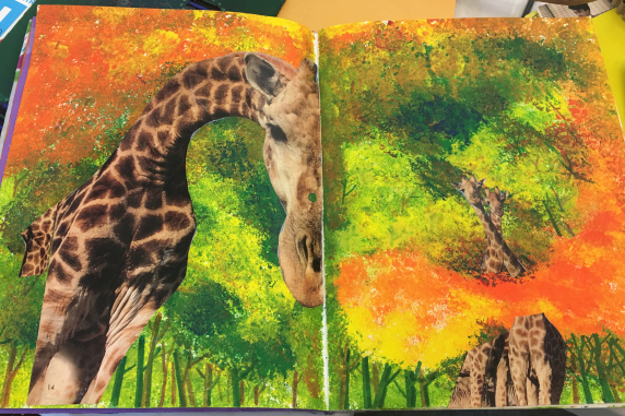 Journal spread by artist and instructor, Jin Jeong, paint and collage
