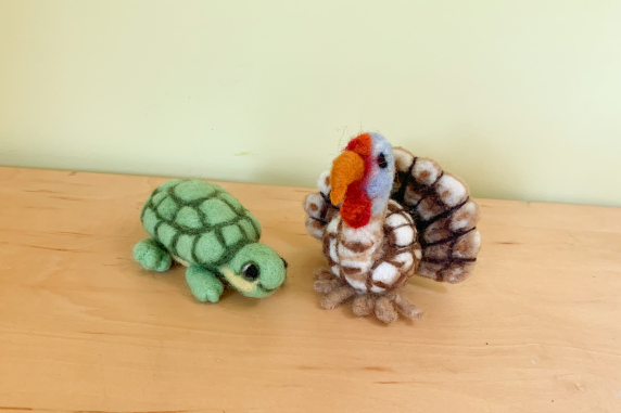 Needle Felted Turkey and Turtle