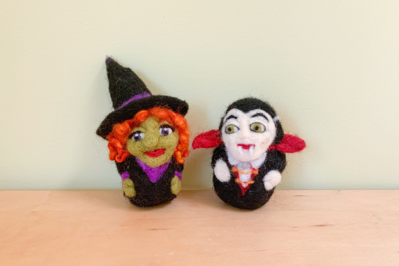 Needle Felted Witch and Vampire