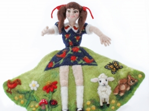 5 Going on 50, Needle Felted Flip Doll, 5 front view